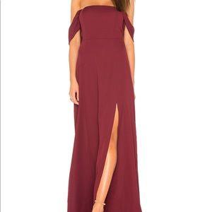 JOA Front slit off the shoulder maxi dress